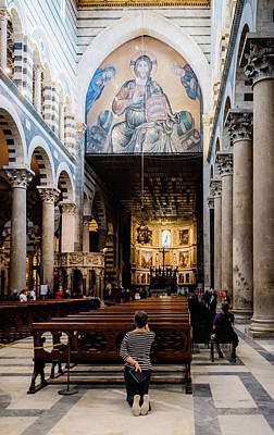 Photograph - Prayer At Pisa Cathedral, Italy by Alexandre Rotenberg