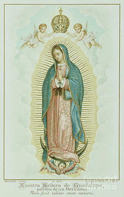 Virgin Guadalupe Wall Art - Painting - Prayer Card Depicting Our Lady Of Guadalupe by French School
