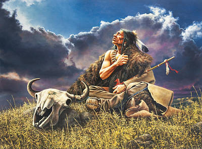 American Indian History Painting - Prayer For The Buffalo by Dan  Nance