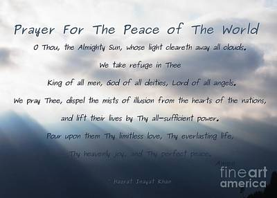 Photograph - Prayer For The Peace Of The World by Agnieszka Ledwon