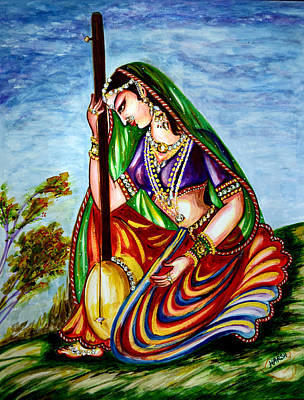 Parvati Painting - Krishna - Prayer by Harsh Malik