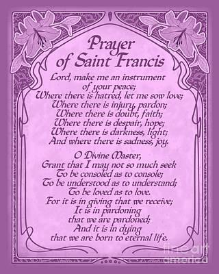 Digital Art - Prayer Of Saint Francis - Pope Francis Prayer -orchid Art Nouveau  by Ginny Gaura