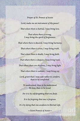 Photograph - Prayer Of St Francis by Diane Macdonald