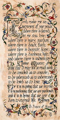 St Francis Prayer Painting - Prayer Of St. Francis Of Assisi by Kyla Ryan