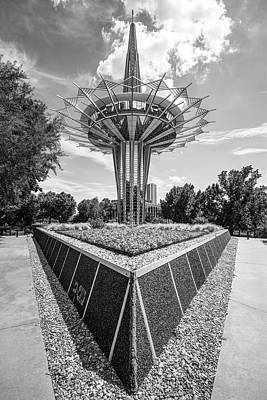 Photograph - Prayer Tower In Bw - Oral Roberts University - Tulsa Oklahoma by Gregory Ballos