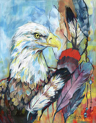 American Eagle Painting - Prayerfully Vigilant by Peggy Wilson