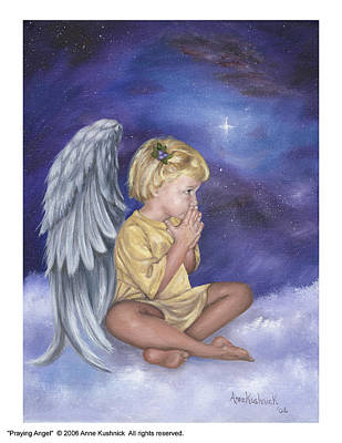 Wall Art - Painting - Praying Angel by Anne Kushnick