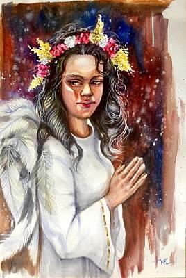 Painting - Praying Angel by Katerina Kovatcheva