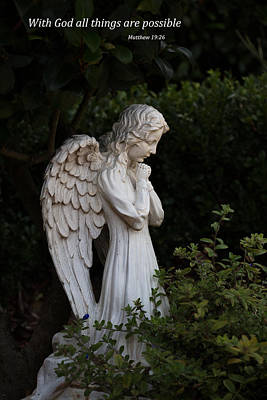 Photograph - Praying Angel With Verse by Kathleen Scanlan