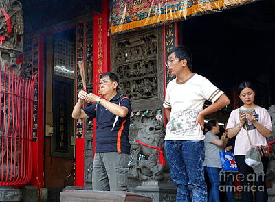 Art Print featuring the photograph Praying At A Temple In Taiwan by Yali Shi