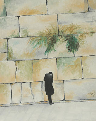 Painting - Praying At The Western Wall by Miriam Leah
