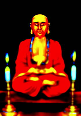 Spiritual Painting - Praying Buddha -2 by Carmen Cordova