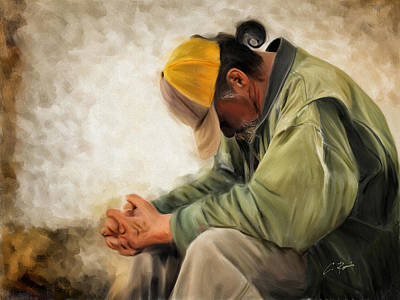Digital Art - Praying by Charlie Roman