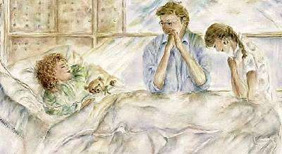Teddy Bear Watercolor Painting - Prayer - Couple Praying Painting - Expecting A Miracle by Carolyn Gray