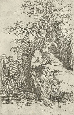 Relief - Praying Male Penitent In The Wilderness by Salvator Rosa
