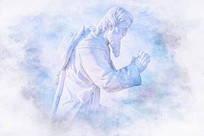 Digital Art - Praying Man Cemetery Statue by Randy Steele