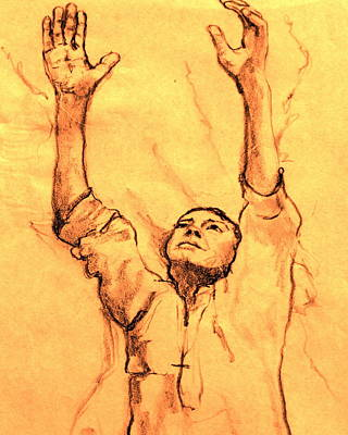 Prayer Drawing - Praying Man by Ruth Mabee