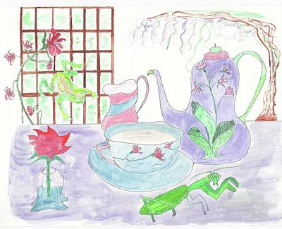 Painting - Preying Mantis And Tea by Helen Holden-Gladsky