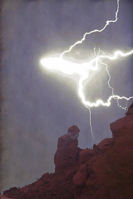 Photograph - Praying Monk Lightning Burst Of Energy From Above by James BO Insogna