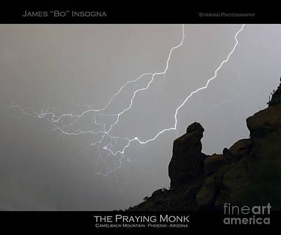 Praying Monk Lightning Striking Poster Print Art Print by James BO  Insogna
