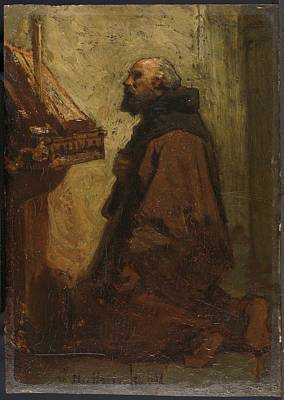 Praying Painting - Praying Monk Monk At His Devotions Jacob Maris 1864 by Celestial Images