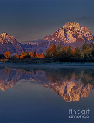 Photograph - Pre-dawn Autumn Tetons Oxbow Bend Grand Tetons National P by Dave Welling