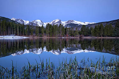 Pre Dawn Image Of The Continental Divide And A Sprague Lake Refl Art Print