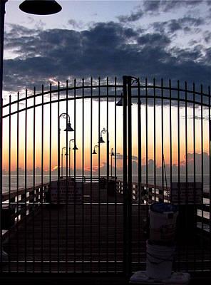 Photograph - Pre-sunrise At The Daytona Beach Fishing Pier Gate by Chris Mercer