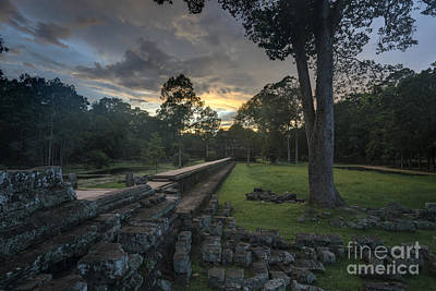 Reliefs Photograph - Preah Kanh Dramatic Sunset by Mike Reid