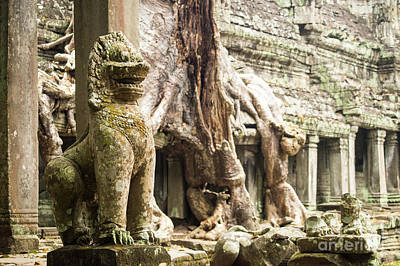 Photograph - Preah Khan Lion 01 by Rick Piper Photography
