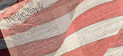 Preamble Of The Constitution Of The United States With Us Flag Art Print