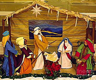 Photograph - Prechristmas Nativity Scene Expressionist Effect by Rose Santuci-Sofranko
