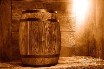 Whiskey Barrel Photograph - Precious Cargo - Sepia by Olivier Le Queinec