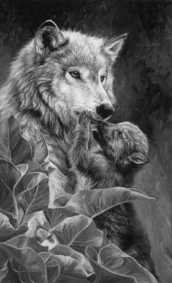 Gray Wolf Painting - Precious Moment - Black And White by Lucie Bilodeau