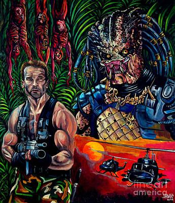 Schwarzenegger Painting - Predator 1987 by Jose Mendez