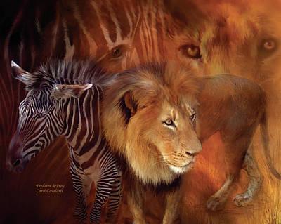 Zebra Mixed Media - Predator And Prey by Carol Cavalaris