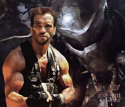 Schwarzenegger Painting - Predator by Drazen Kirchmayer