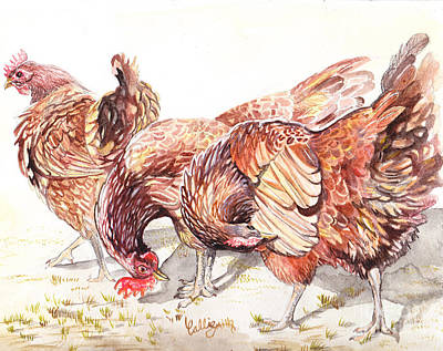 Hens And Chicks Painting - Preening by Callie Smith