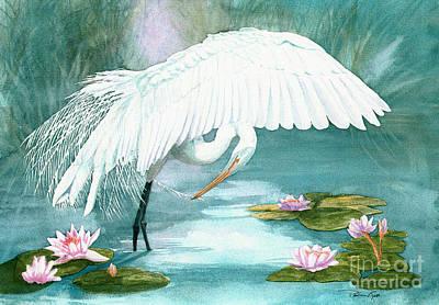 Preening Egret Art Print by Pauline Ross
