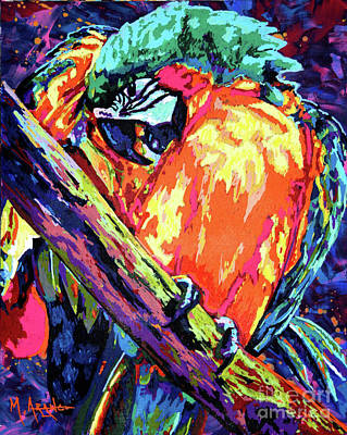 Painting - Preening Macaw by Maria Arango