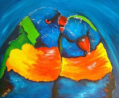 Avian Painting - Preening Rainbow Lorikeet Parrots  by Una  Miller