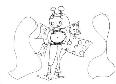 Animation Drawing - Pregnant Alien Lady With Accent Colors by Pamela Paris Collman