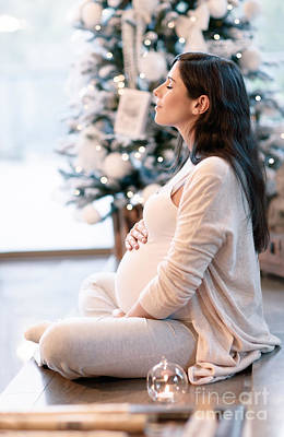 Photograph - Pregnant Woman In Christmastime by Anna Om