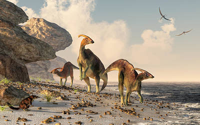 Triassic Digital Art - Prehistoric Beachcombers by Daniel Eskridge