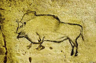 Digital Art - Prehistoric Bison 1- La Covaciella by Weston Westmoreland