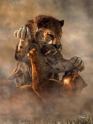 Prehistoric Cat Fight Art Print