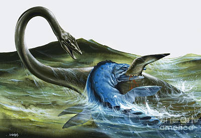 Underwater View Painting - Prehistoric Creatures by David Nockels