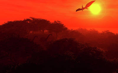 Digital Art - Prehistoric Dawn by David Lane