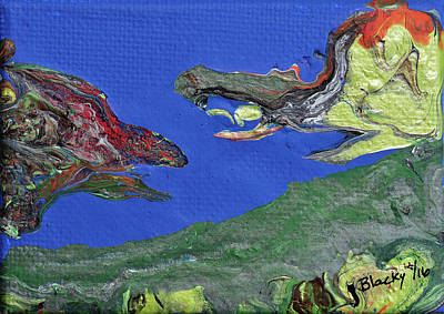 Painting - Prehistoric Face Off by Donna Blackhall