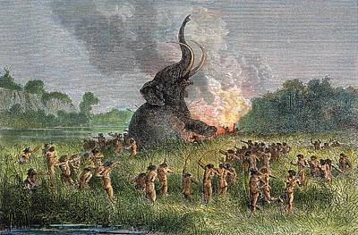 Photograph - Prehistoric Mammoth Hunt by Granger